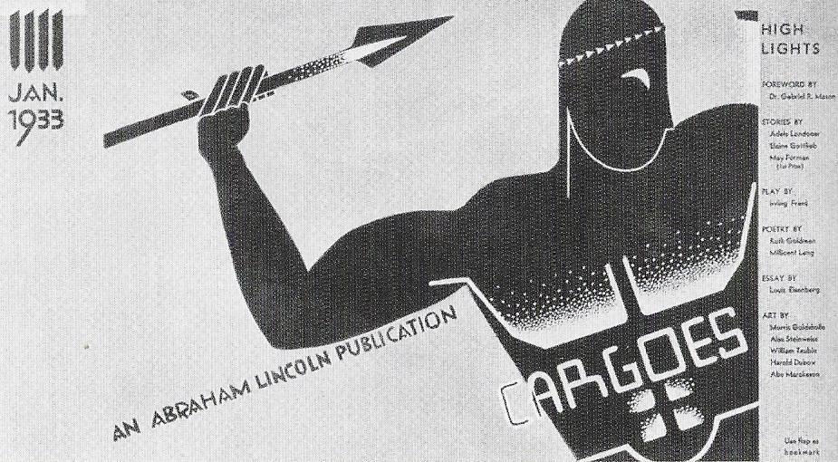 Couverture du magazine Cargoes de l'Abraham Lincoln Hish School, 1933, dessinée par Steinweiss. L'un des rares travaux d'élèves qui figure dans le Graphic Design de Leon Friend.